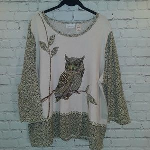 Alfred Dunner owl graphic print 3/4 sleeve shirt